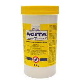 Agita 1 GB, insecticide, adulticide mouche en granulés jaunes, effet KO, ingestion, coupelle, blattes, mouches, moucherons