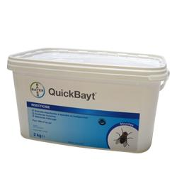 Quick bayt spray, insecticide, adulticide mouche dispersible, badigeon, ténébrions, pulvérisation, coupelle